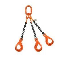 10mm 3 leg Grade 80 Chain Sling c/w Self Locking Hook
