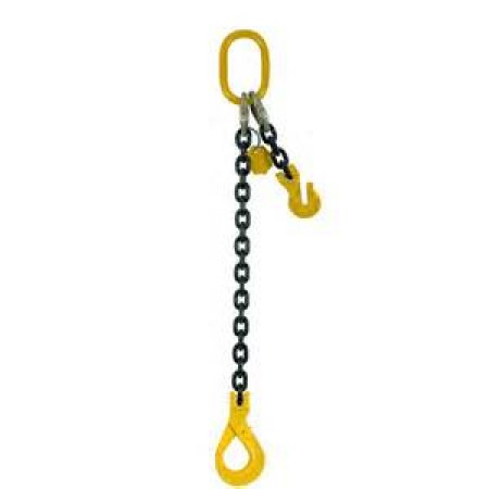 16mm Single leg Grade 80 Chain Sling c/w Self Locking Hook and Shortener